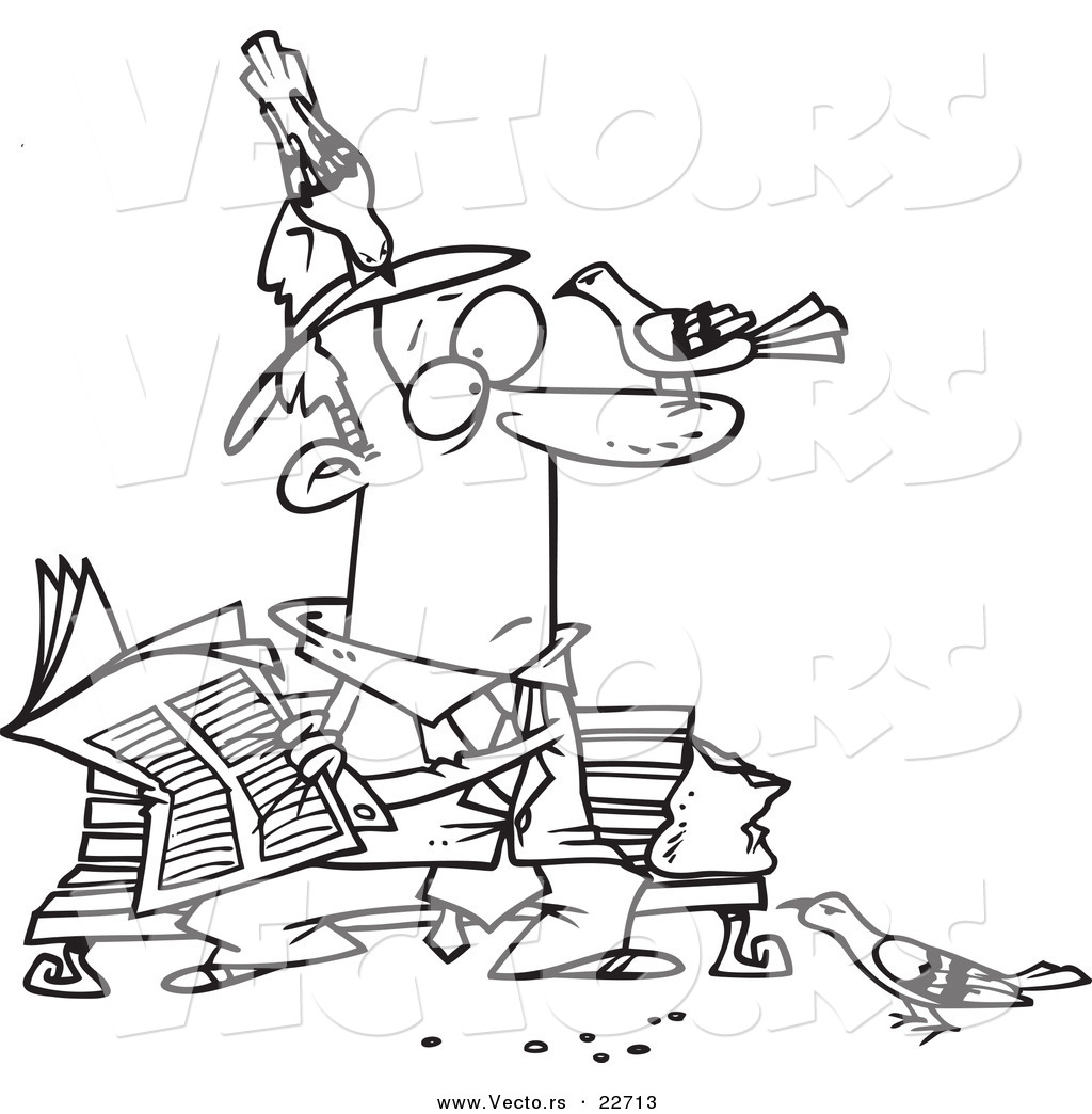 vector of a cartoon pigeons on a man reading the newspaper coloring page outline