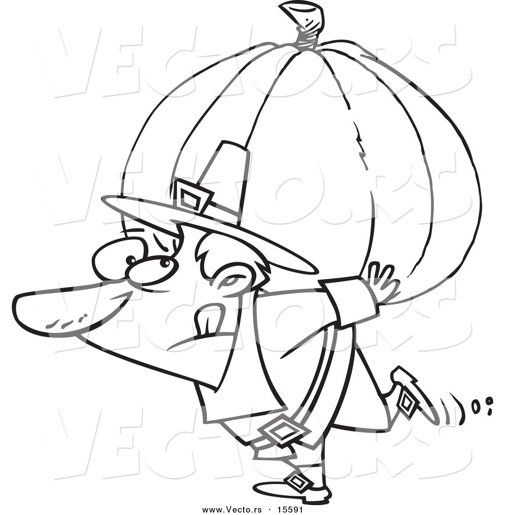 vector of a cartoon pilgrim carrying a heavy pumpkin coloring
