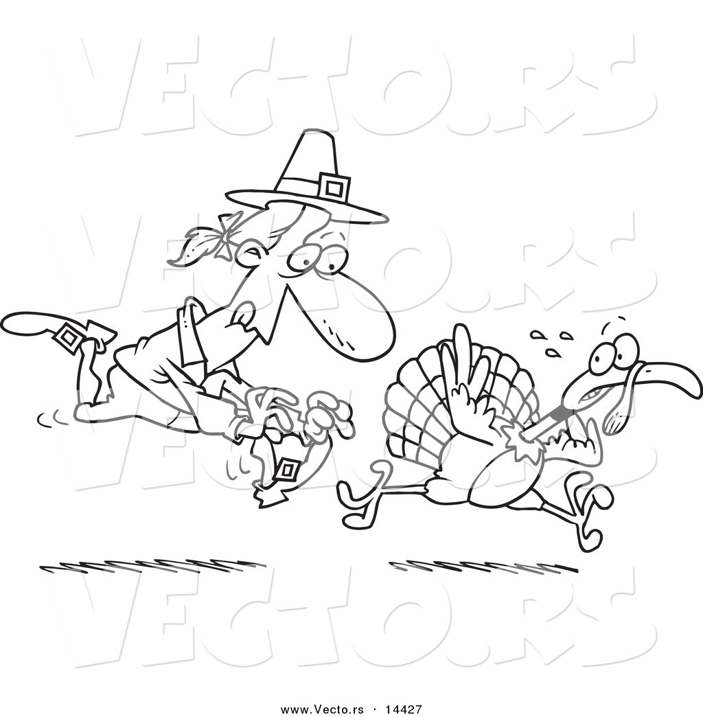 vector of a cartoon pilgrim chasing a turkey bird coloring page