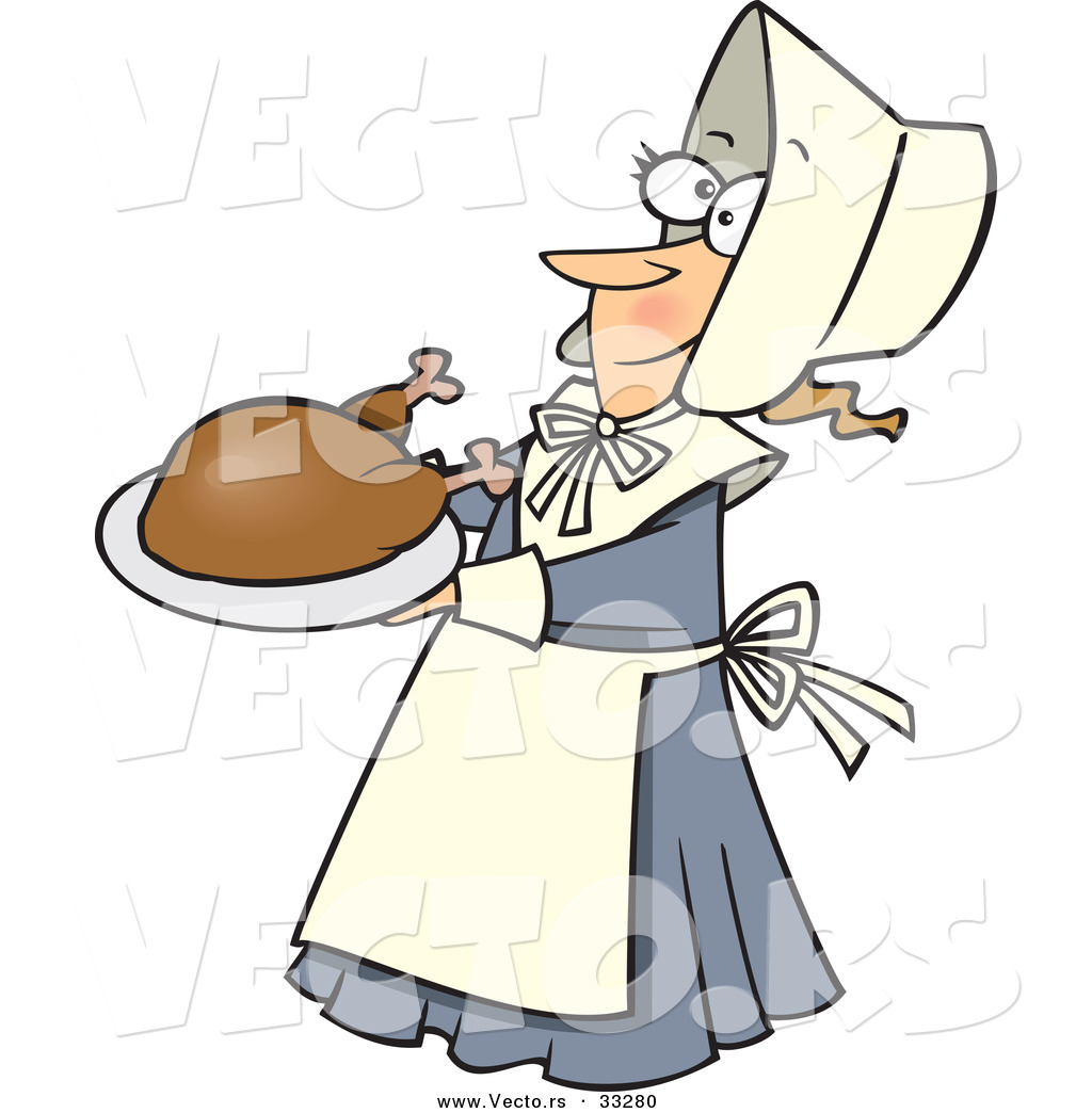 vector of a cartoon pilgrim lady serving turkey on a dish by