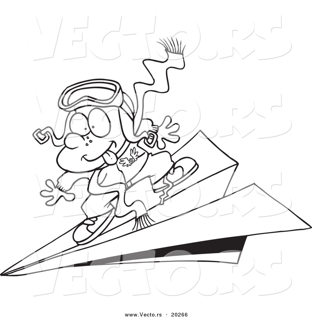 Vector Of A Cartoon Pilot Boy Flying On Paper Plane