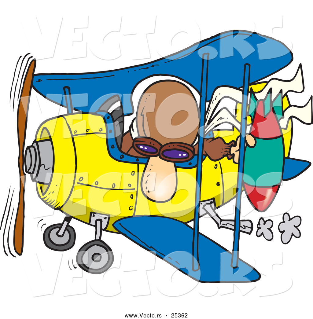 vector of a cartoon pilot dropping bomb from biplane by toonaday