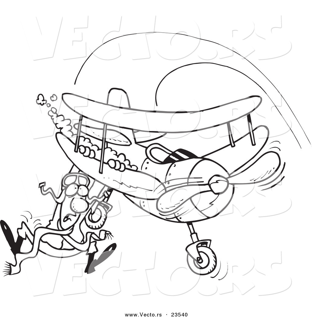 Of A Cartoon Pilot Hanging On His Biplane Coloring Page Outline