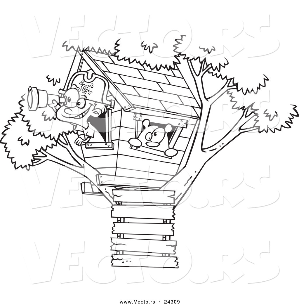 Vector of a Cartoon Pirate Boy in His Tree House Black and White ...