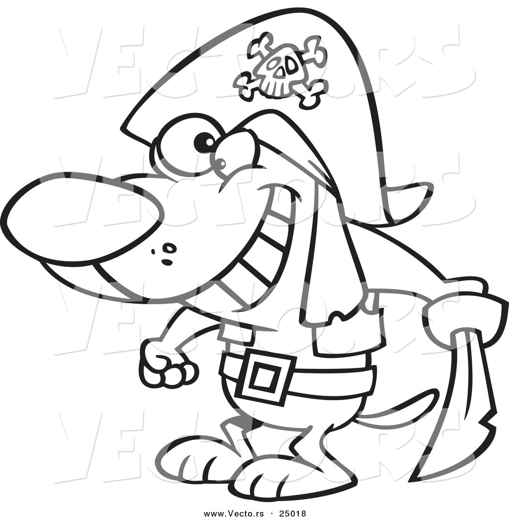 vector of a cartoon pirate dog holding a sword outlined coloring