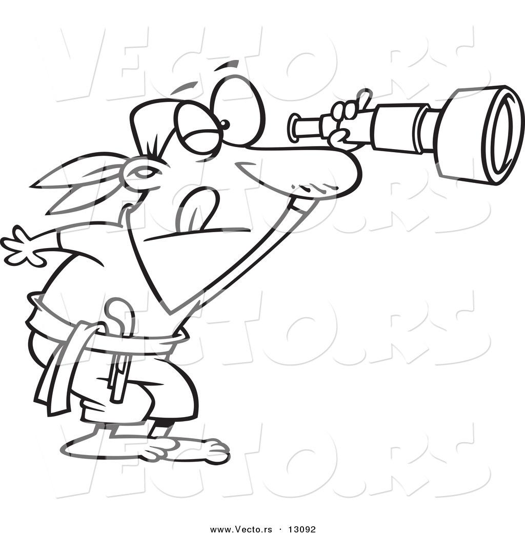 Vector Of A Cartoon Pirate Peering Through A Spyglass