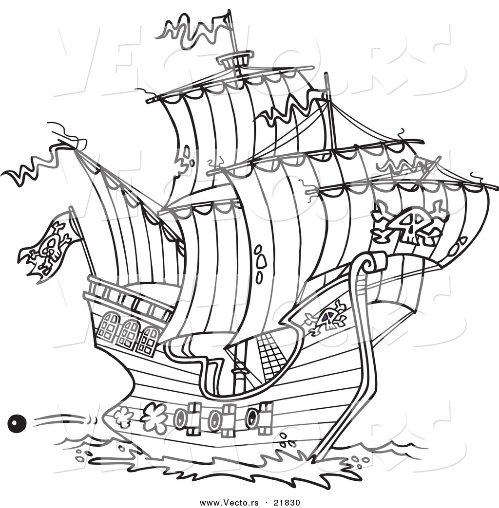 Vector Of A Cartoon Pirate Ship Shooting Cannons Outlined Pirate Ship Coloring Page