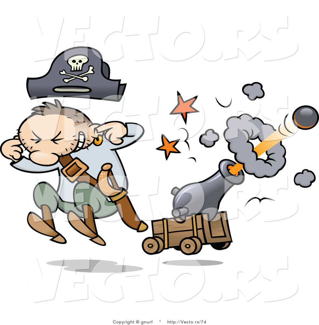 vector of a cartoon pirate shooting a cannon with ballgnurf - #74
