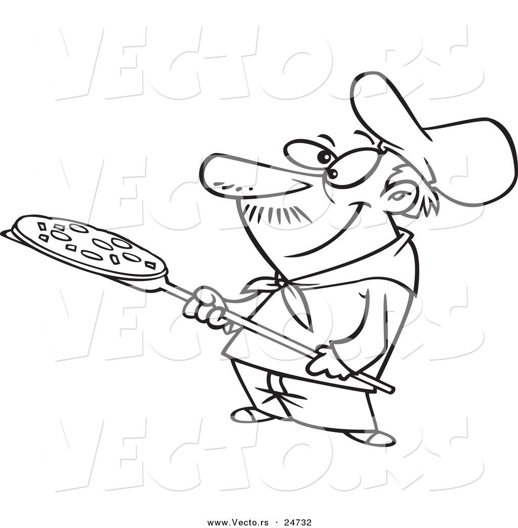 Vector Of A Cartoon Pizza Man Holding Pie