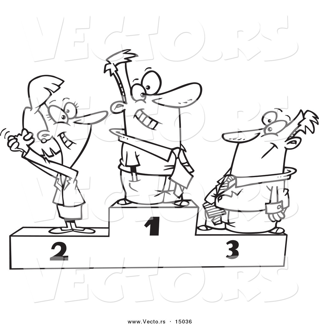 vector of a cartoon podium of first second and third place