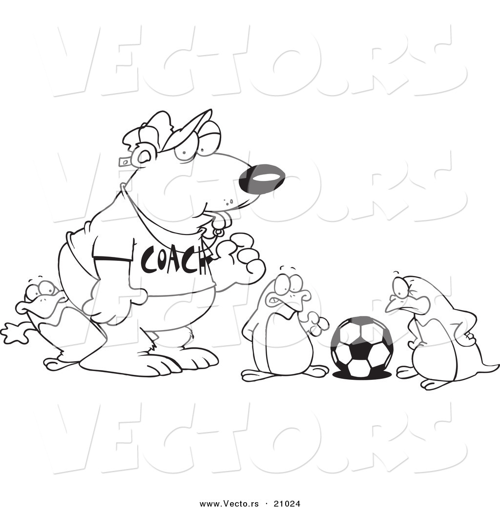 vector of a cartoon polar bear coaching penguins for soccer
