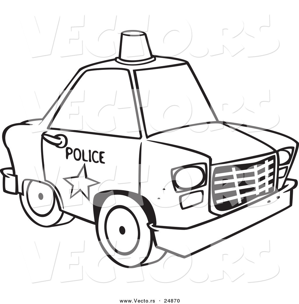 Vector Of A Cartoon Police Car With Siren Cone On The Roof