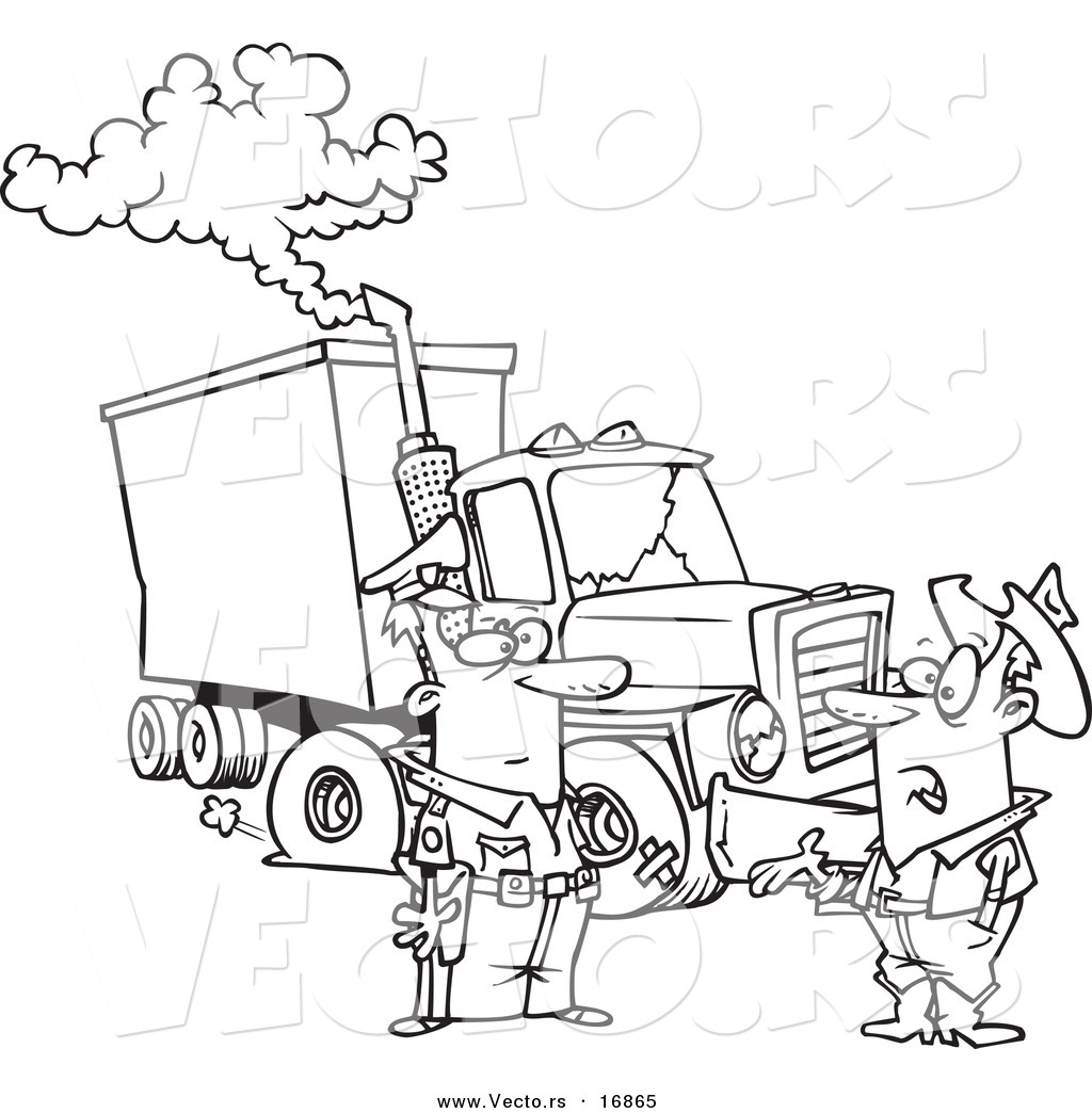 vector of a cartoon police man assisting a trucker with a broken