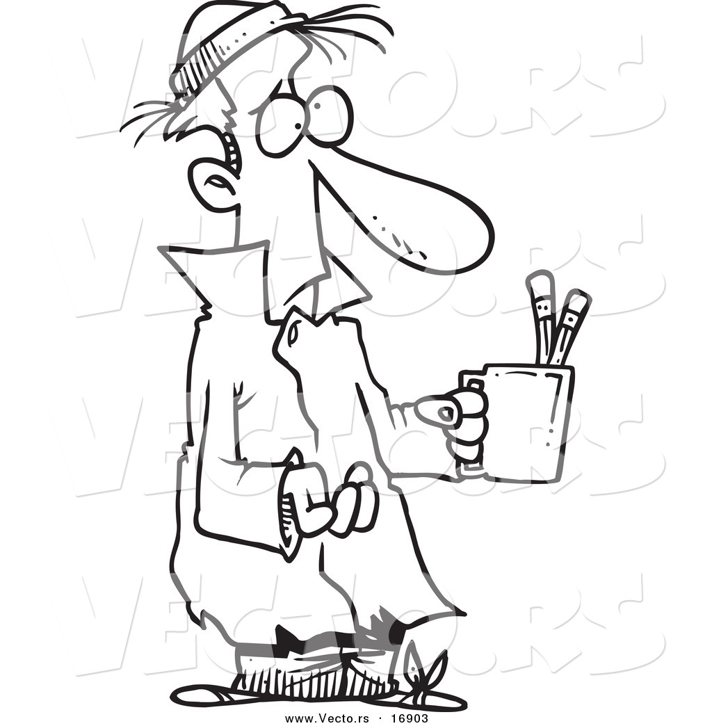 Vector Of A Cartoon Poor Man Begging With A Pencil Cup