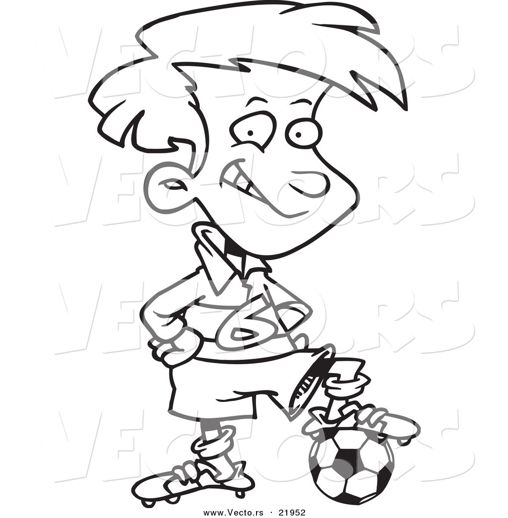 vector of a cartoon posing soccer boy outlined coloring page by
