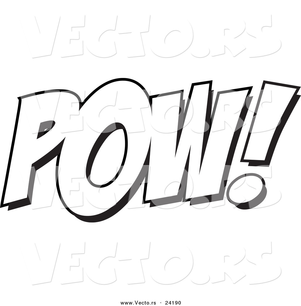 vector of a cartoon pow coloring page outline by toonaday 24190