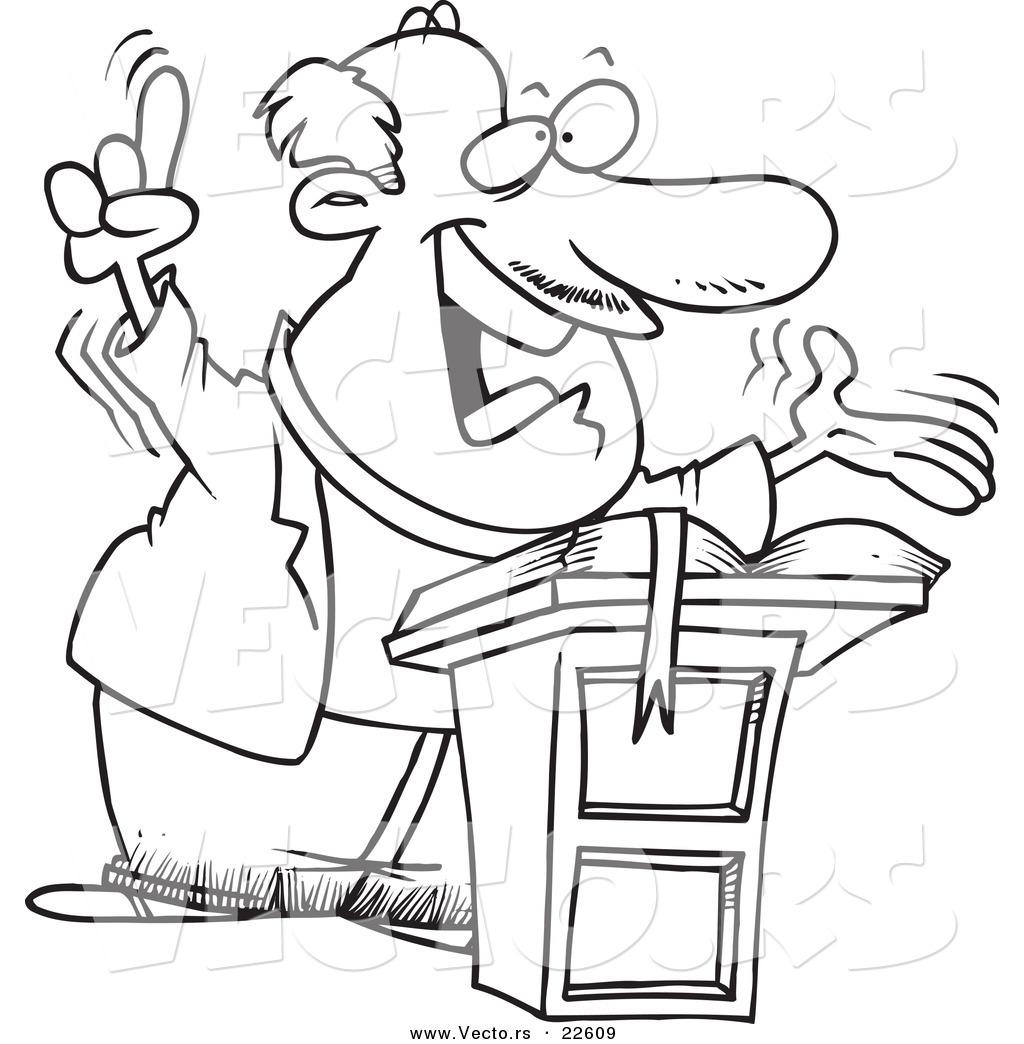Vector Of A Cartoon Preaching Pastor