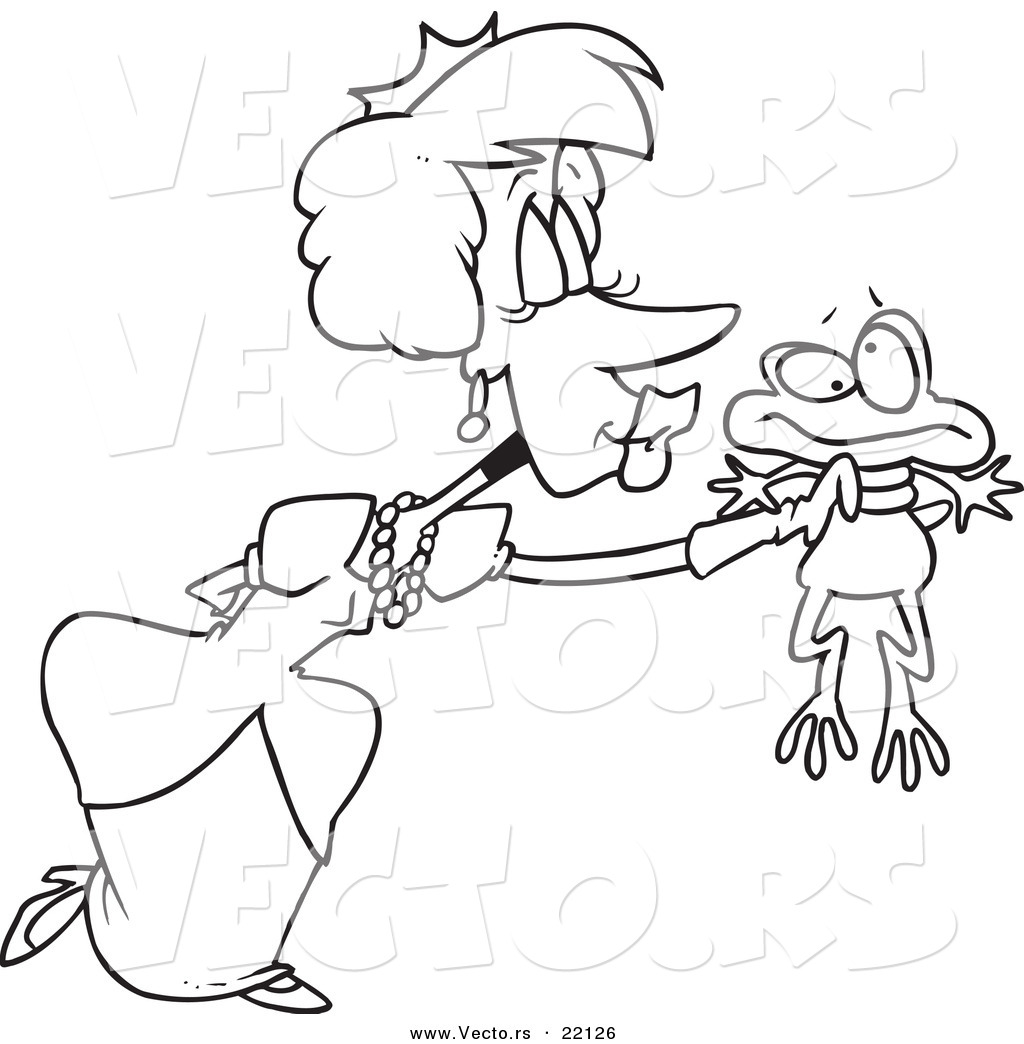 vector of a cartoon princess kissing a frog outlined coloring
