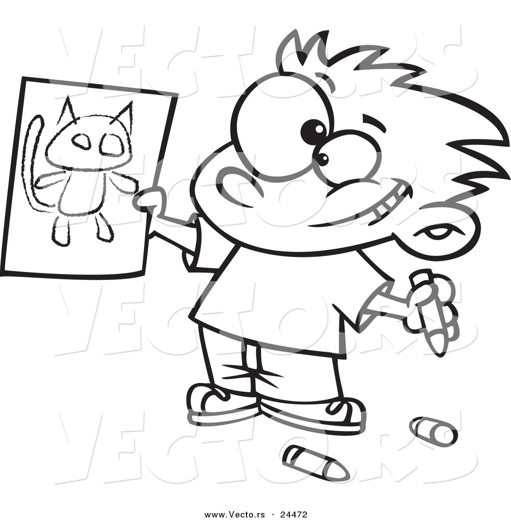 vector of a cartoon proud boy holding his cat drawing outlined coloring page