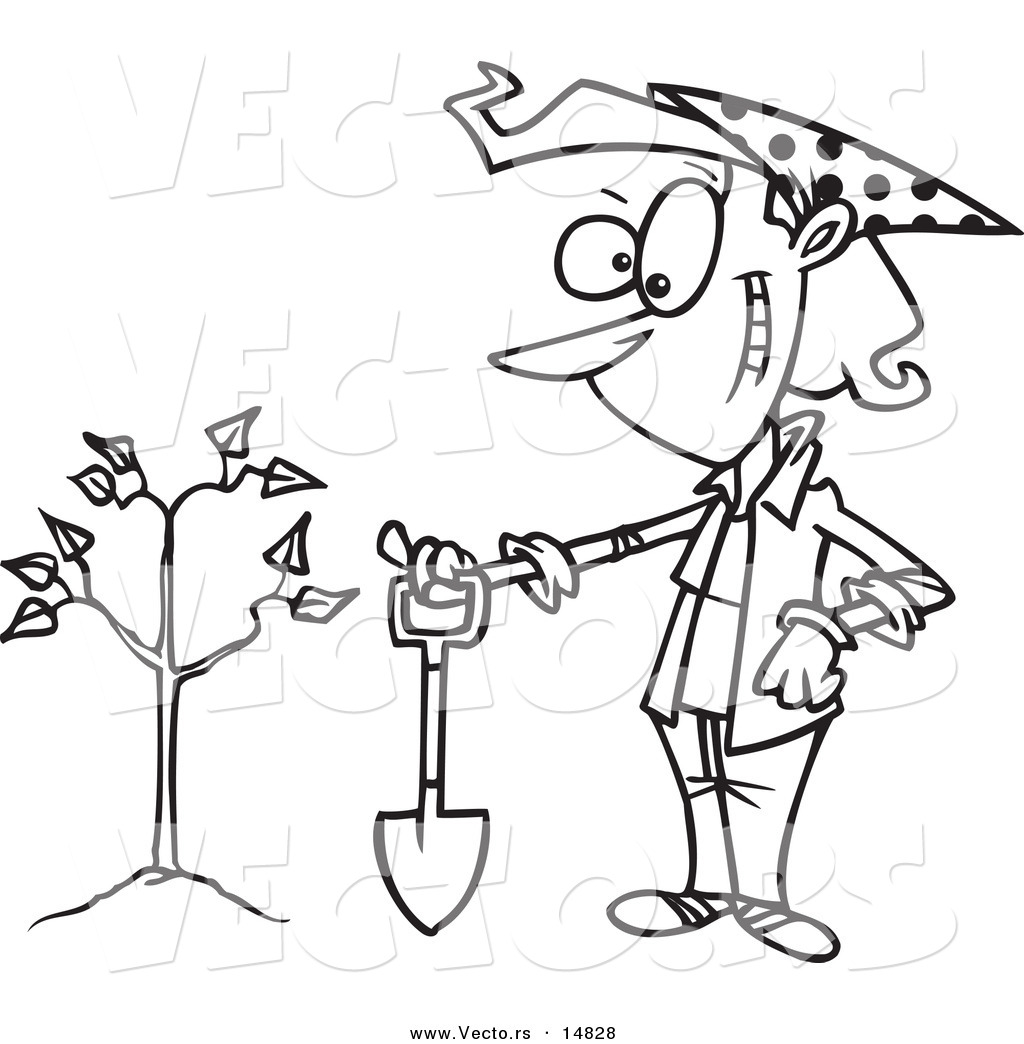 vector of a cartoon proud woman with a shovel by a newly planted