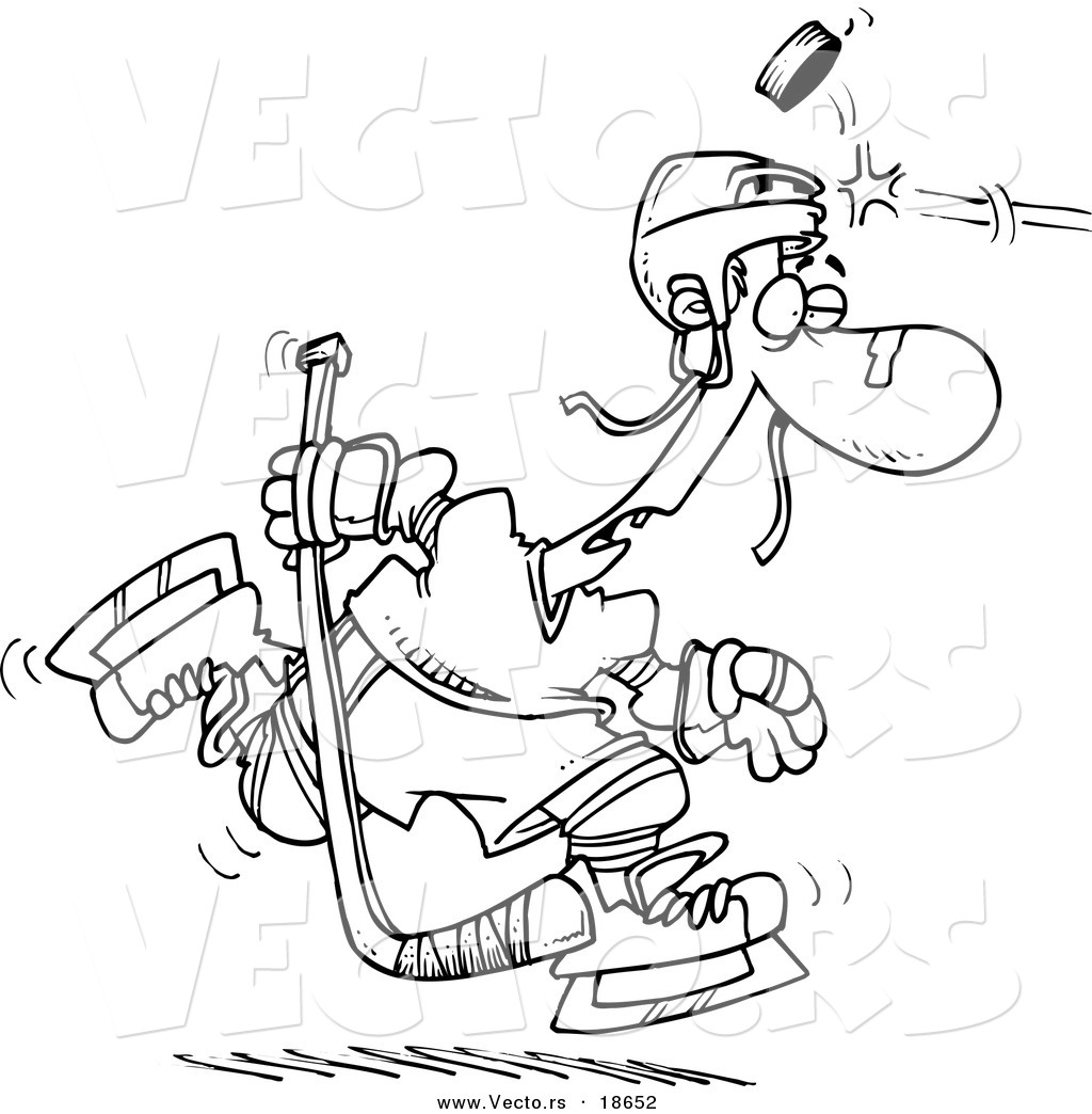 Free coloring pages hockey players - Vector Of A Cartoon Puck Hitting A Hockey Player Outlined Coloring Page