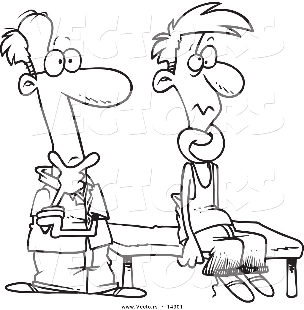 vector of a cartoon puzzled therapist beside a patient with a knotted neck coloring page