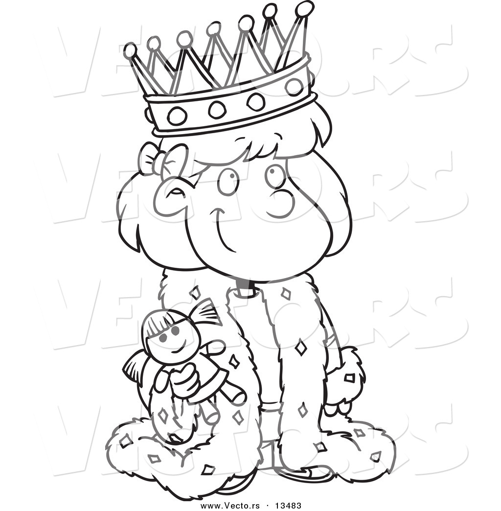 vector of a cartoon queen holding a doll coloring page