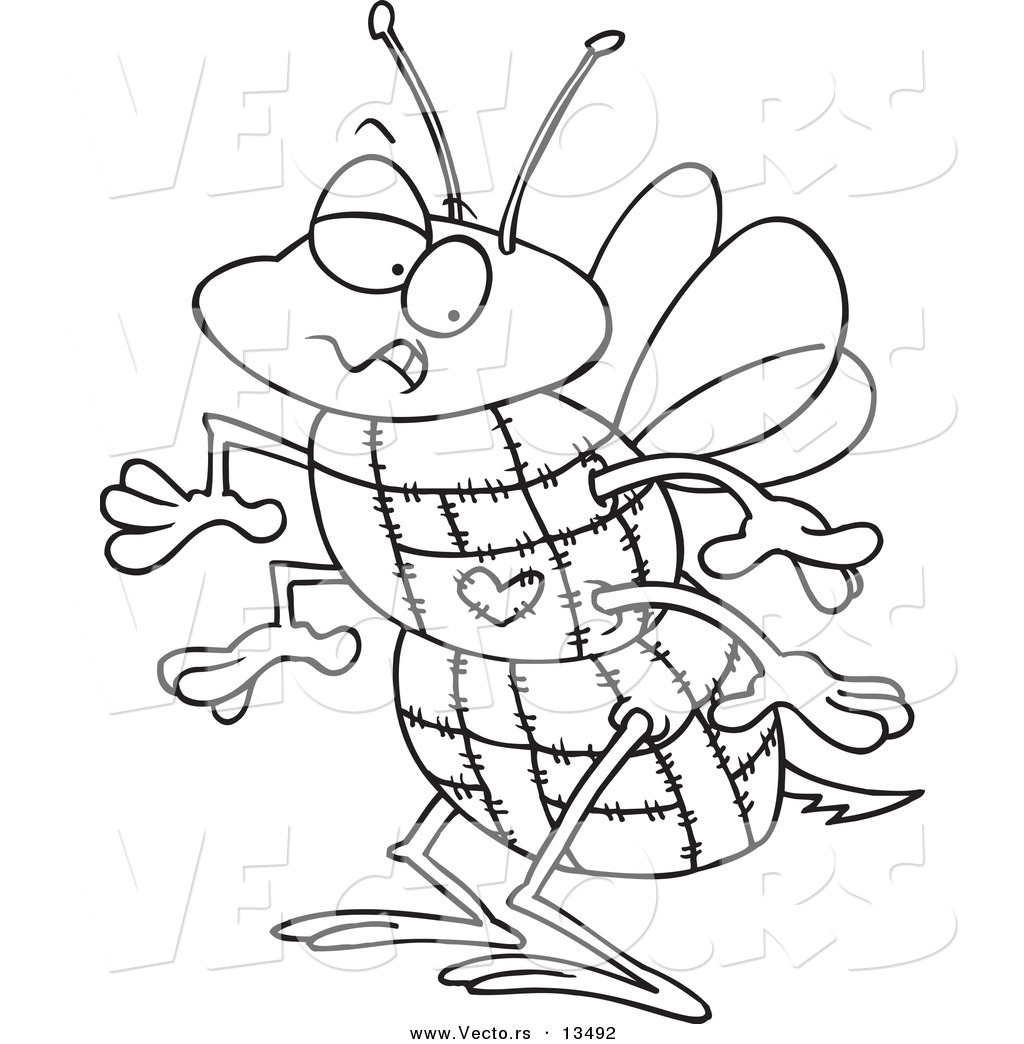 vector of a cartoon quilted bee coloring page outline by
