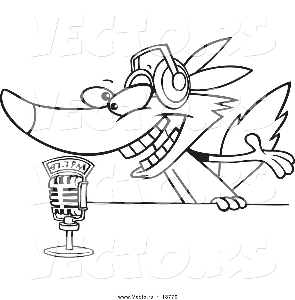 Vector of a Cartoon Radio Wolf Talking into a Microphone