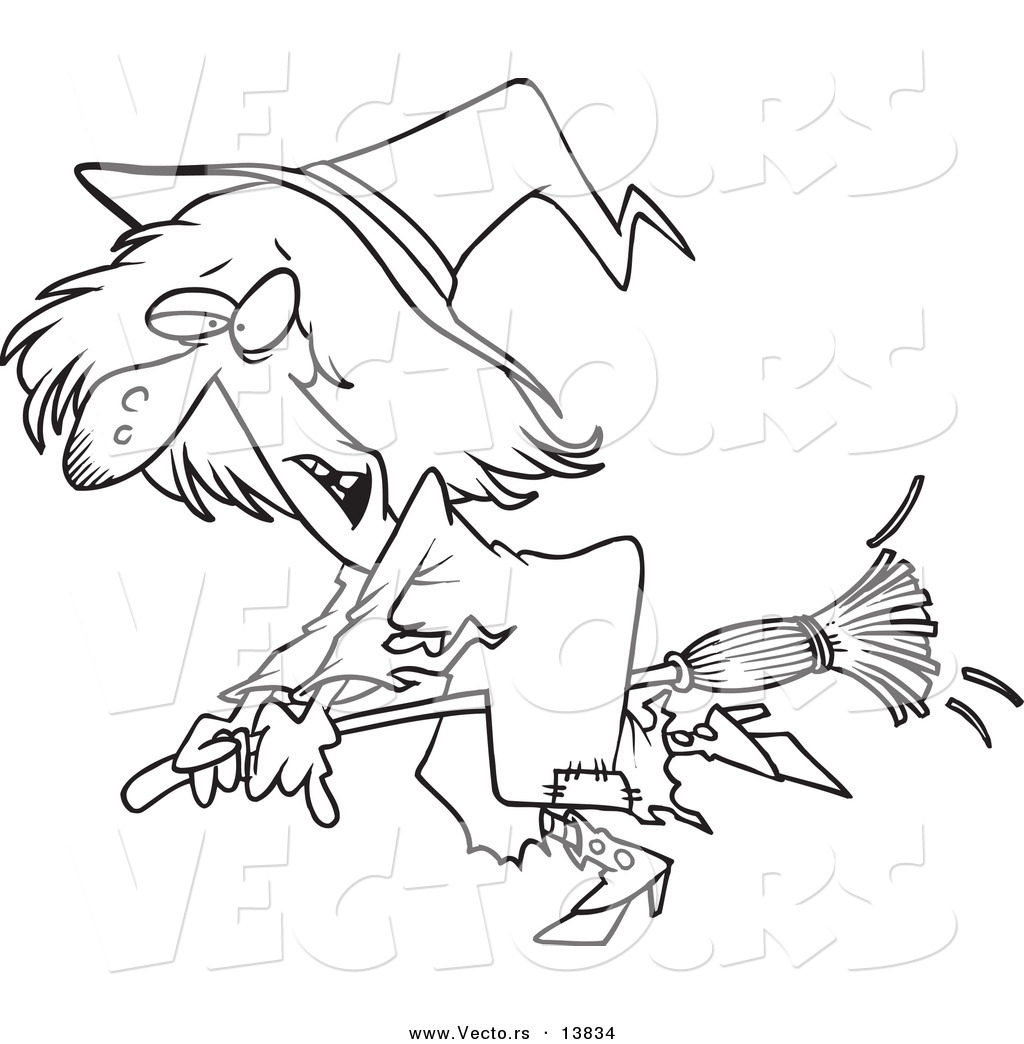 vector of a cartoon ragged witch flying on her broomstick