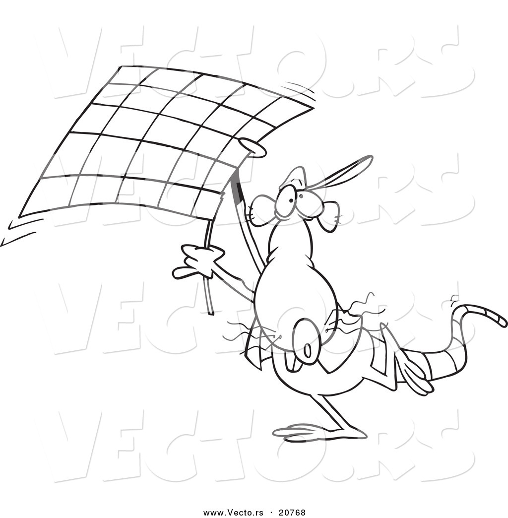 Vector Of A Cartoon Rat Carrying Checkered Flag