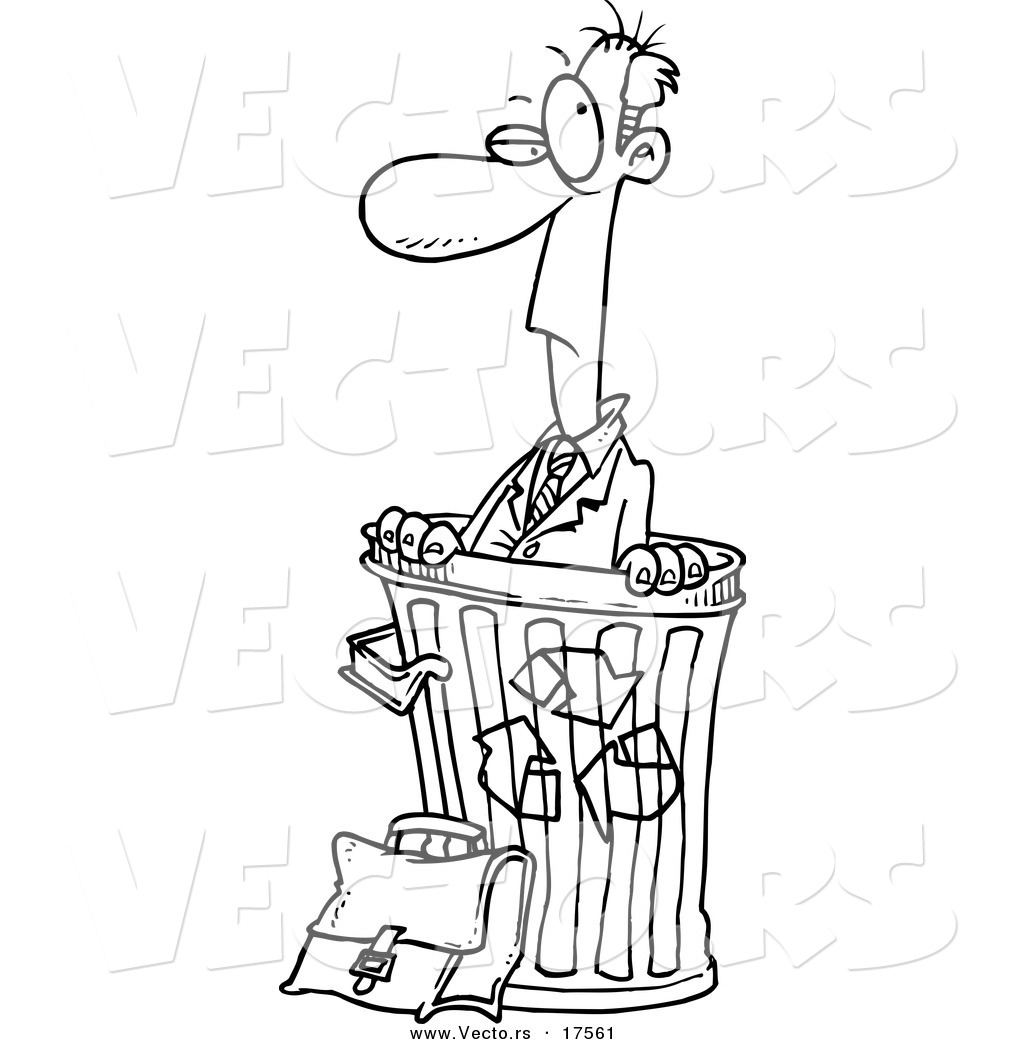 Vector of a Cartoon Recycled Businessman in a Bin - Coloring Page ...