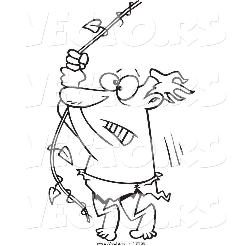 Vector of a Cartoon Reluctant Man Swinging on a Vine ...