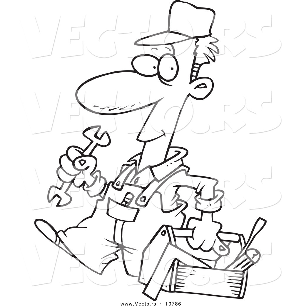 Coloring sheets tools - Vector Of A Cartoon Repair Man Carrying A Tool Box Outlined Coloring Page