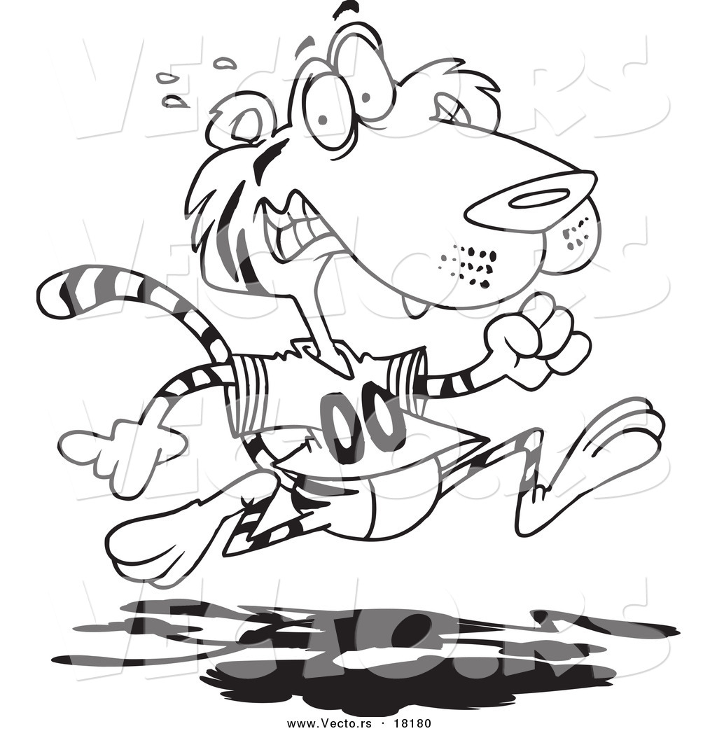 vector of a cartoon retreating tiger outlined coloring page