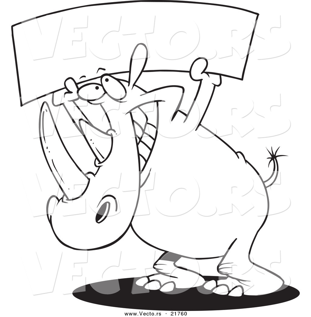 Vector of a Cartoon Rhino Holding up a Blank Banner Outlined