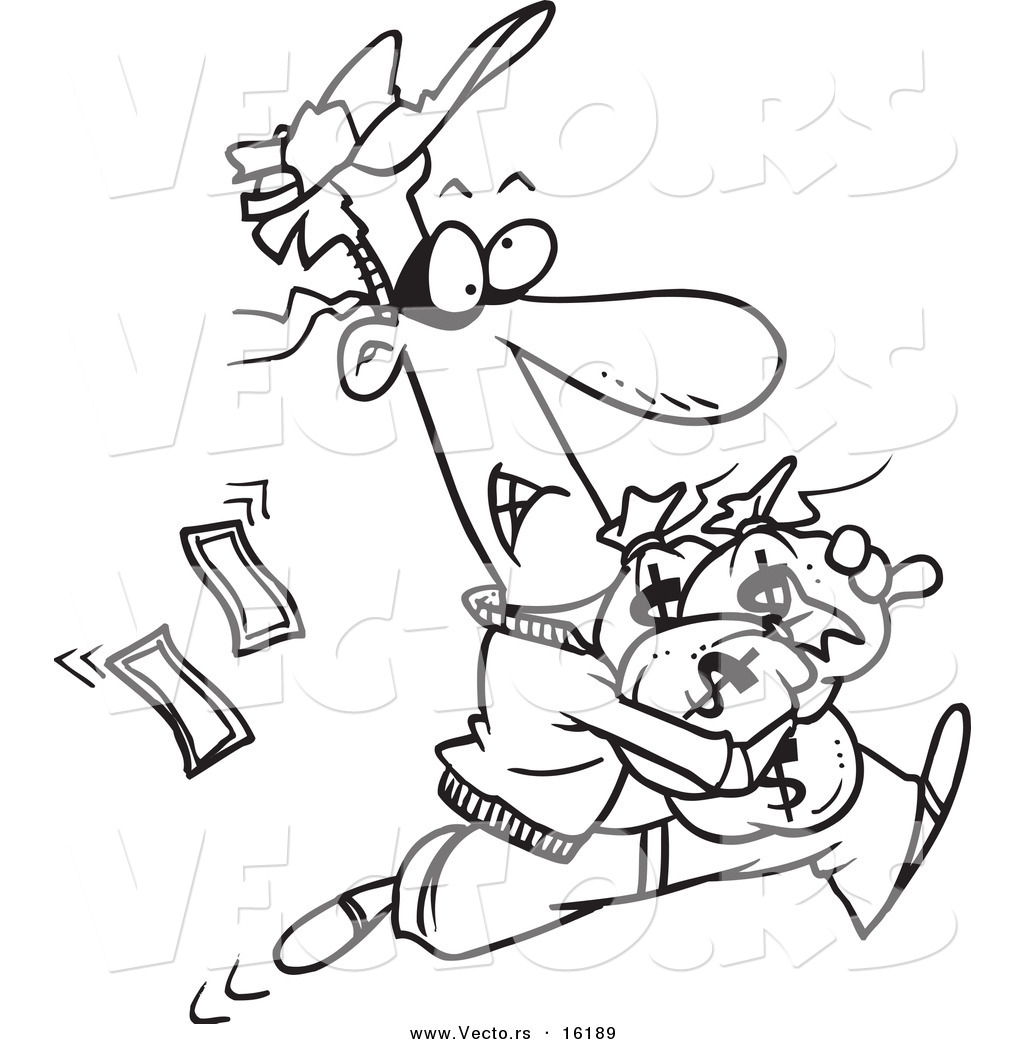 Vector Of A Cartoon Robber Getting Away With Bags Of Cash