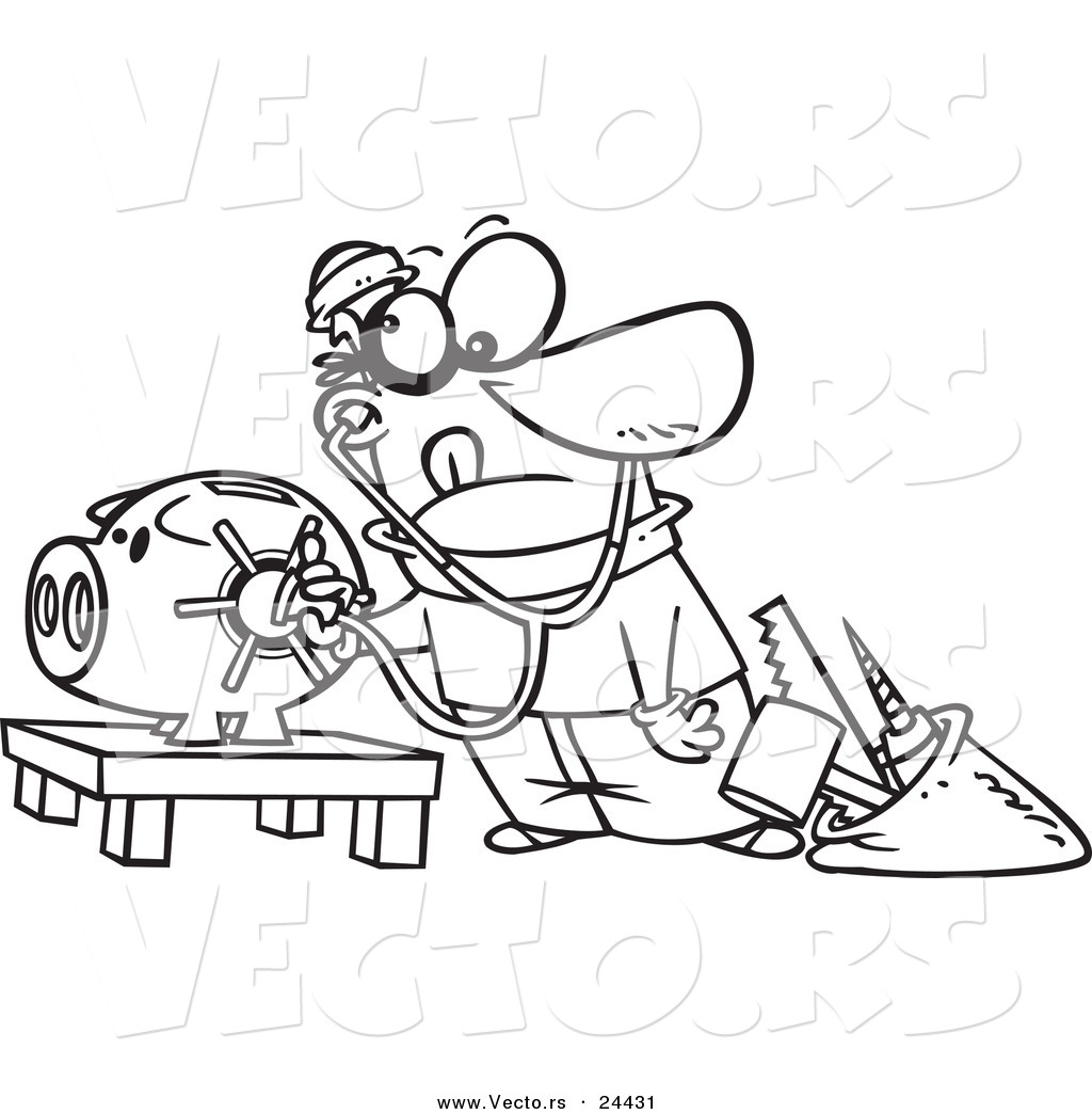 vector of a cartoon robber unlocking a piggy bank vault
