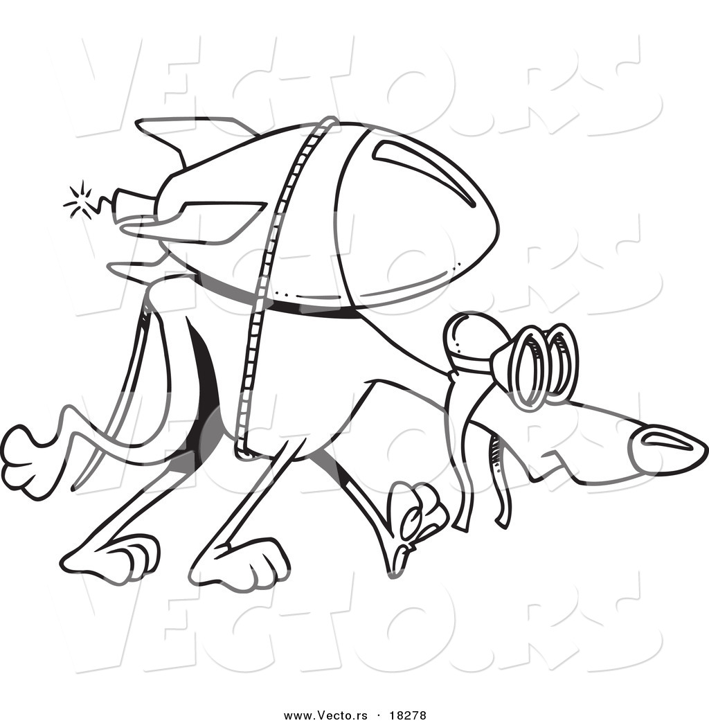 vector of a cartoon rocket strapped to a greyhound outlined