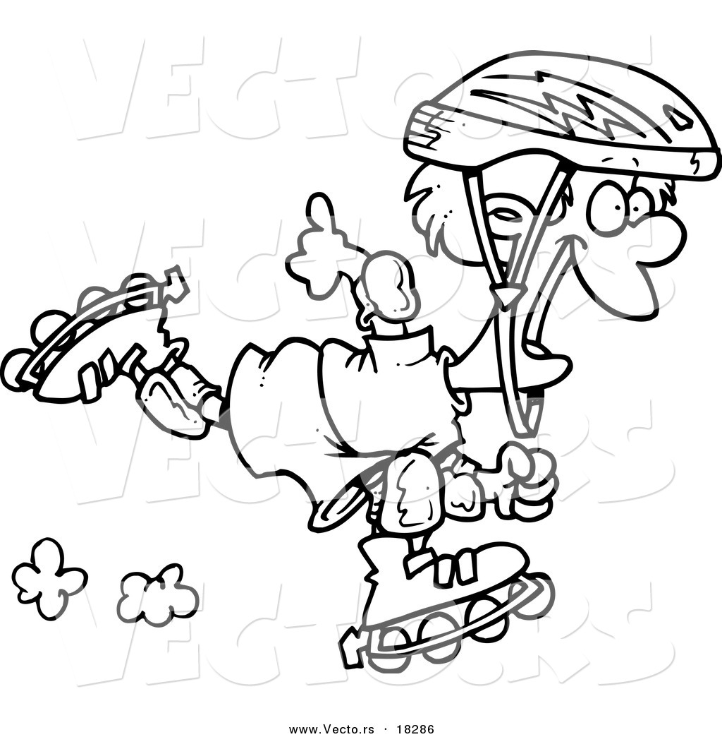 Vector of a Cartoon Roller Blading Boy - Outlined Coloring Page by ...