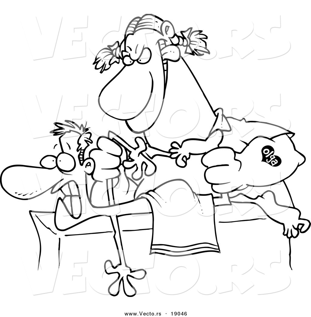 vector of a cartoon rough female massage therapist mangling a patient outlined coloring page
