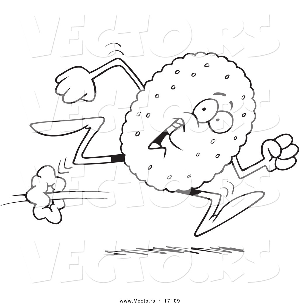 vector of a cartoon running biscuit coloring page outline by