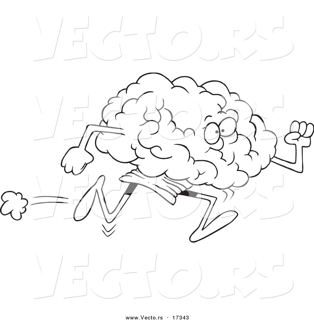 Vector of a Cartoon Running Brain  Coloring Page Outline by Ron