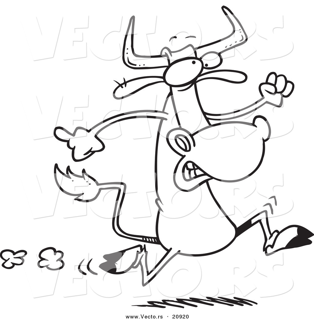Vector of a Cartoon Running Cow  Coloring Page Outline by Ron