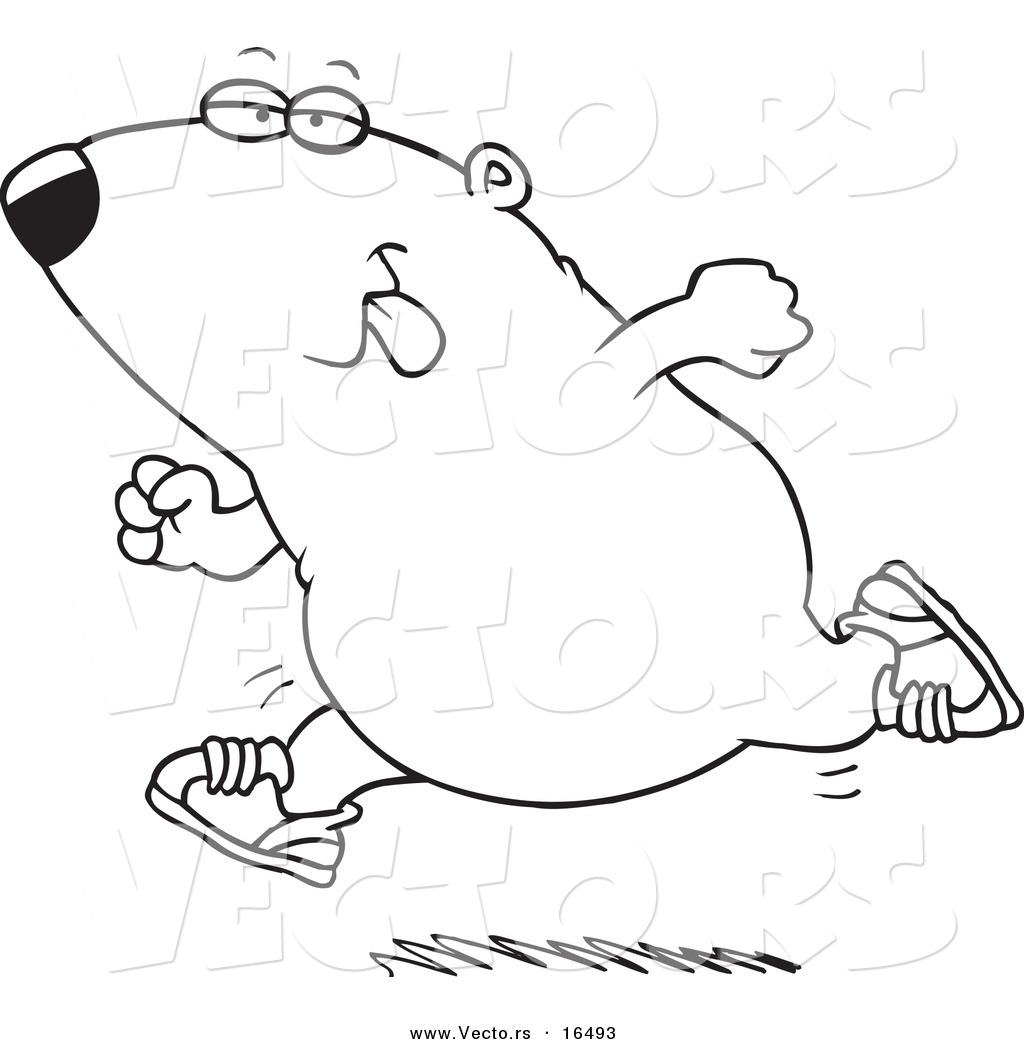 vector of a cartoon running guinea pig outlined coloring page