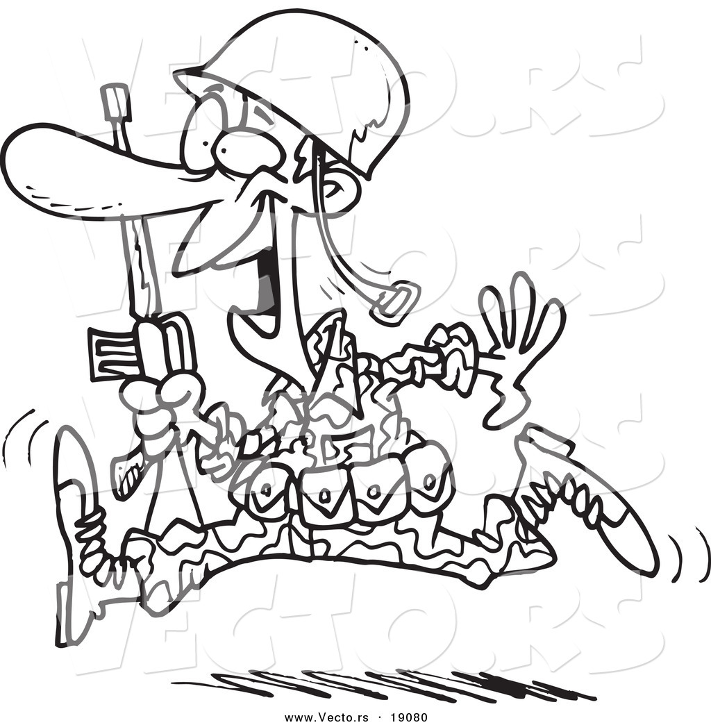 Vector Of A Cartoon Running Marine Soldier Outlined