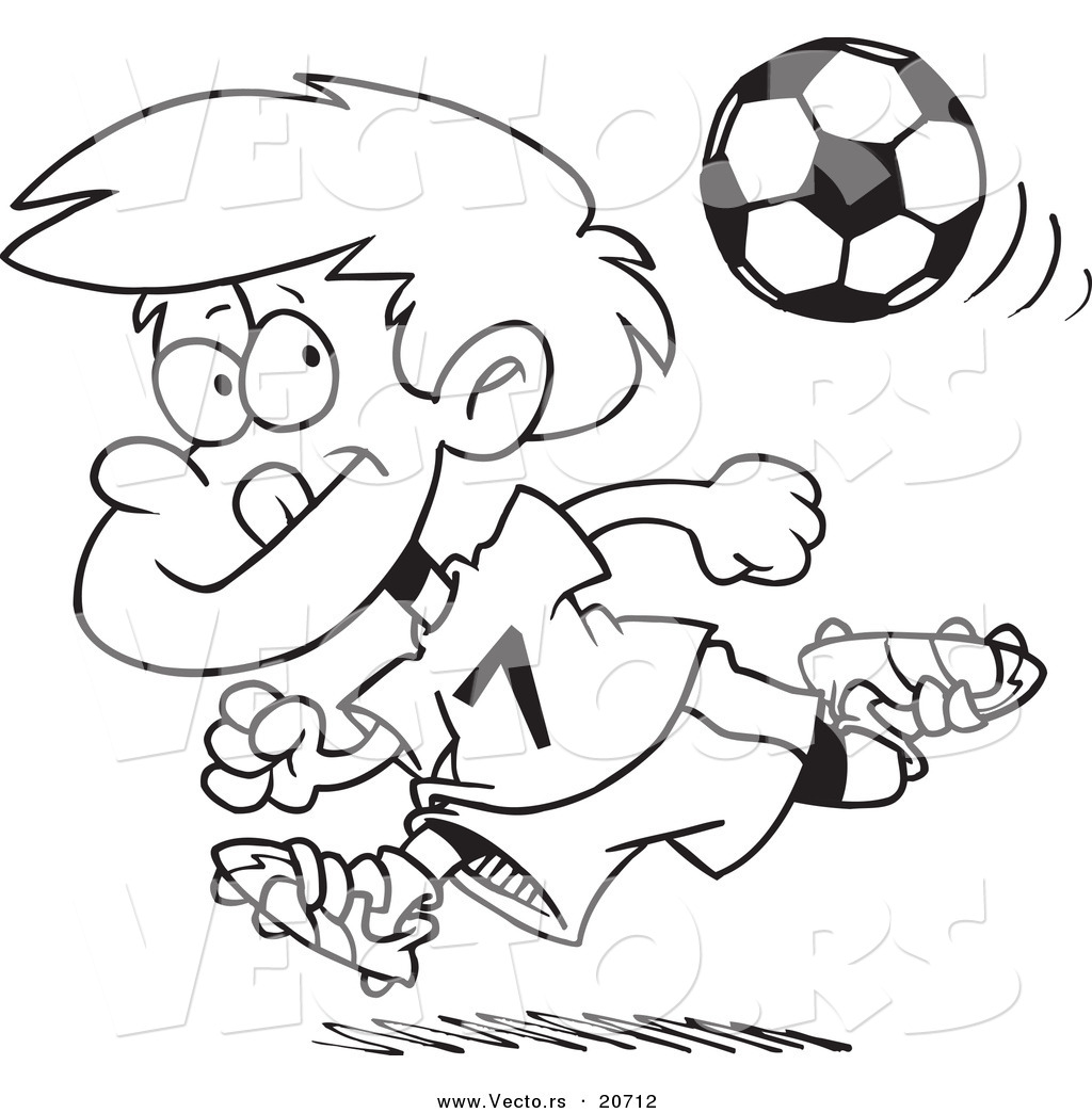 Vector Of A Cartoon Running Soccer Boy