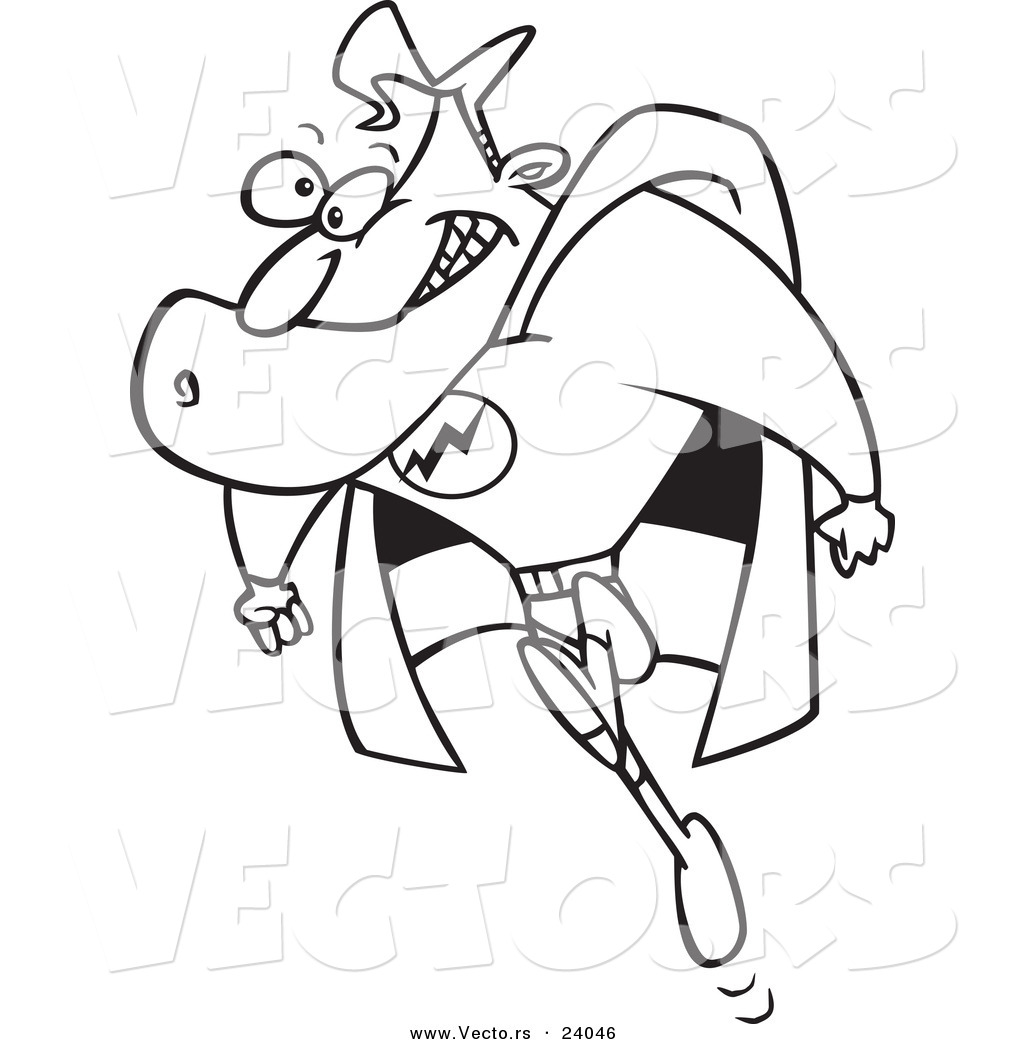 vector of a cartoon running super guy coloring page outline by