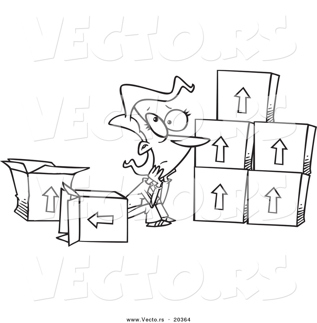 Vector of a Cartoon Sad Woman Sitting by Moving Boxes - Coloring ...