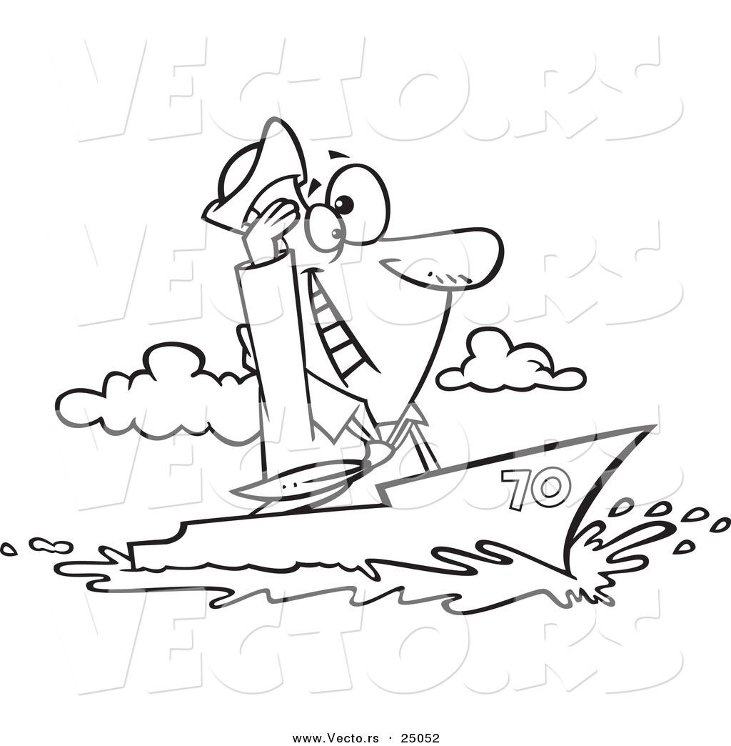 vector of a cartoon sailor man cruising on a ship outlined